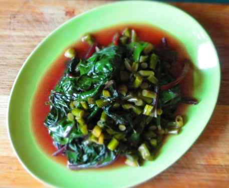 beet greens with garlic scapes