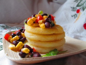 Arepitas with Black Bean-Corn Salsa